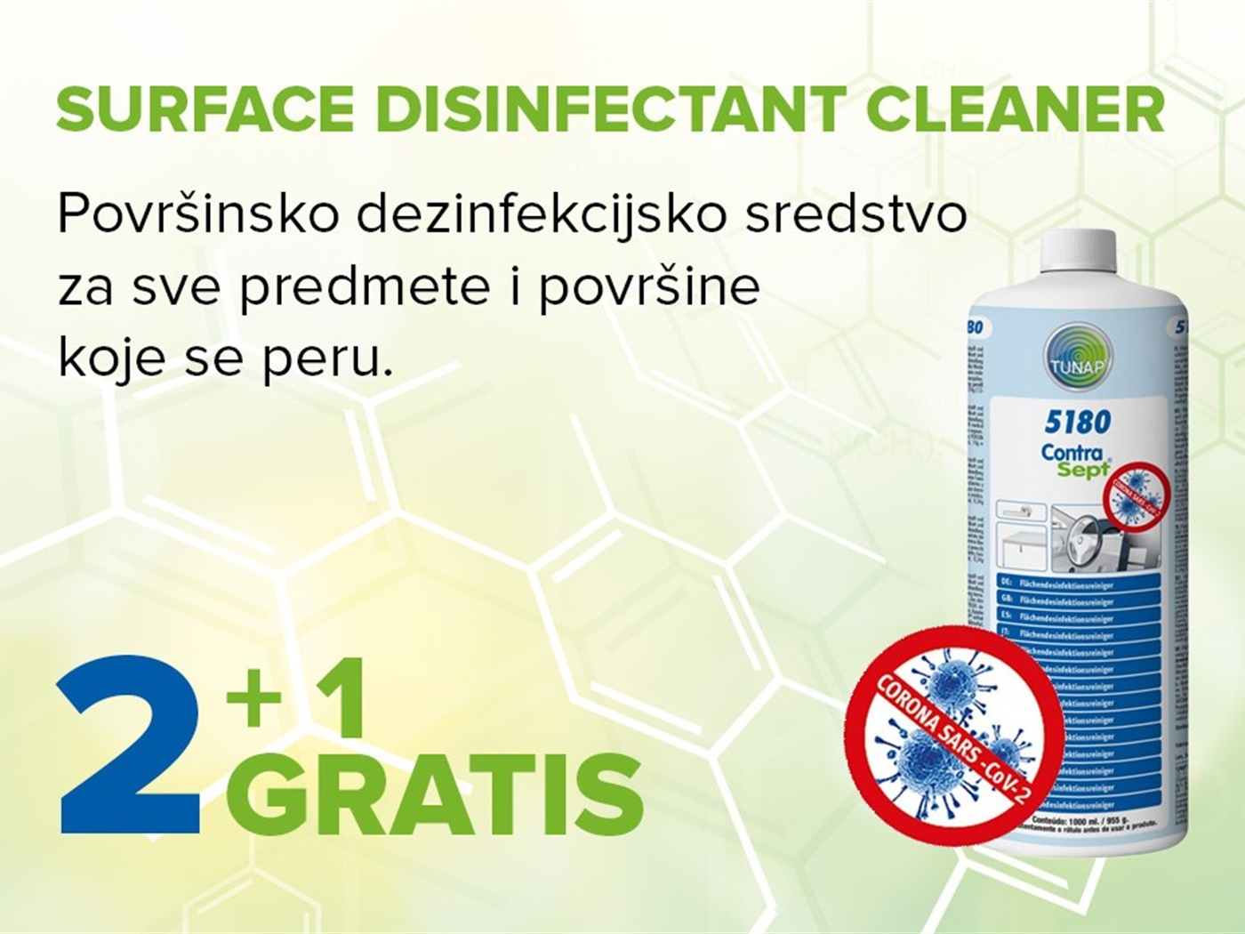 5180 Surface Disinfectant Cleaner 1 lit 2+1 gratis